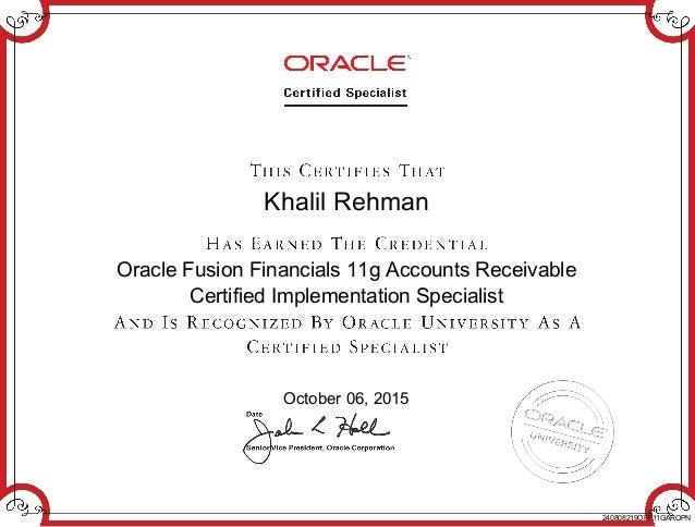 Fusion AR 11g OCP Certificate