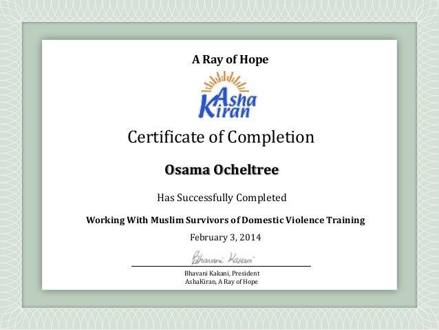 muslim DV workshop Certificate - Ocheltree