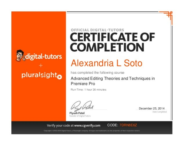 Alexandria L Soto has completed the following course Advanced Editing Theories and Techniques in Premiere Pro December 25,...