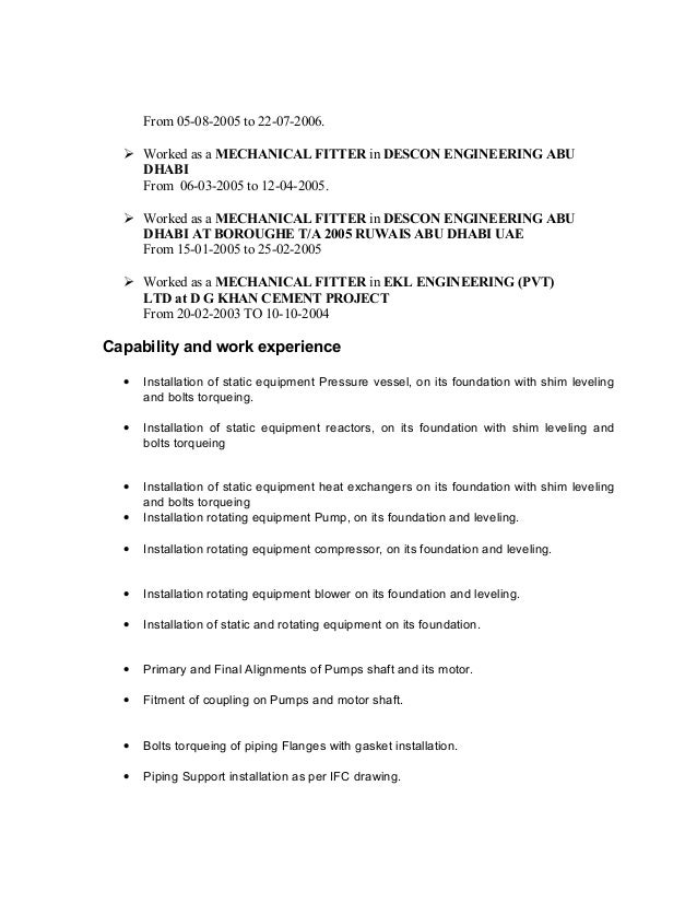 cv senior mechanical fitter