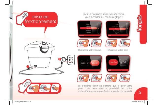 1 2 Pour la première mise sous tension, vous accédez au menu réglage : Choisissez votre langue Le troisième écran ne s'affi...