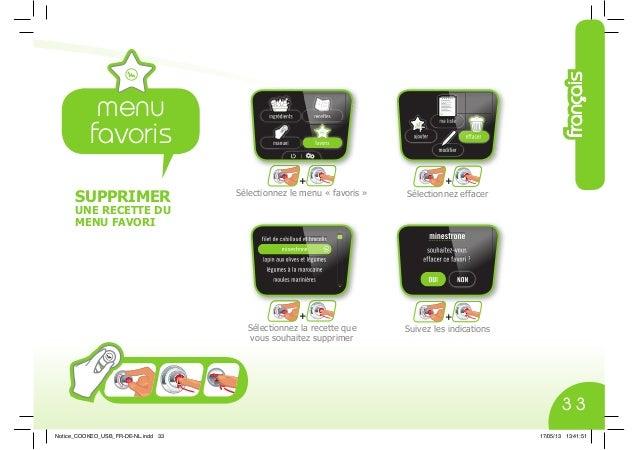 SUPPRIMER UNE RECETTE DU MENU FAVORI + + + + Sélectionnez le menu « favoris » Sélectionnez la recette que vous souhaitez s...