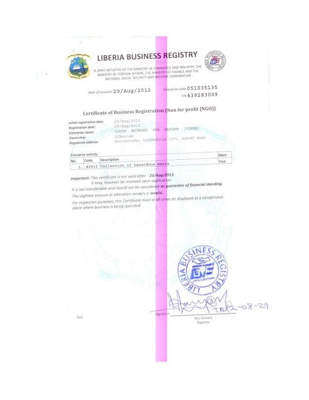 Yoner Business Registration Certificate