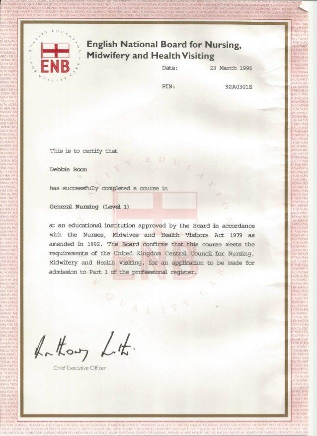 Debbie Nursing Certificate
