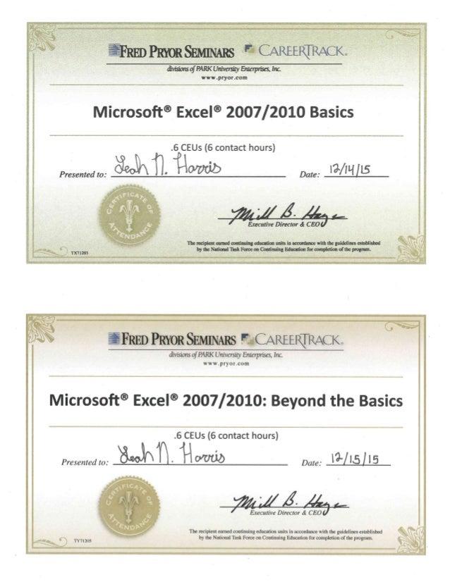 excel training certificates
