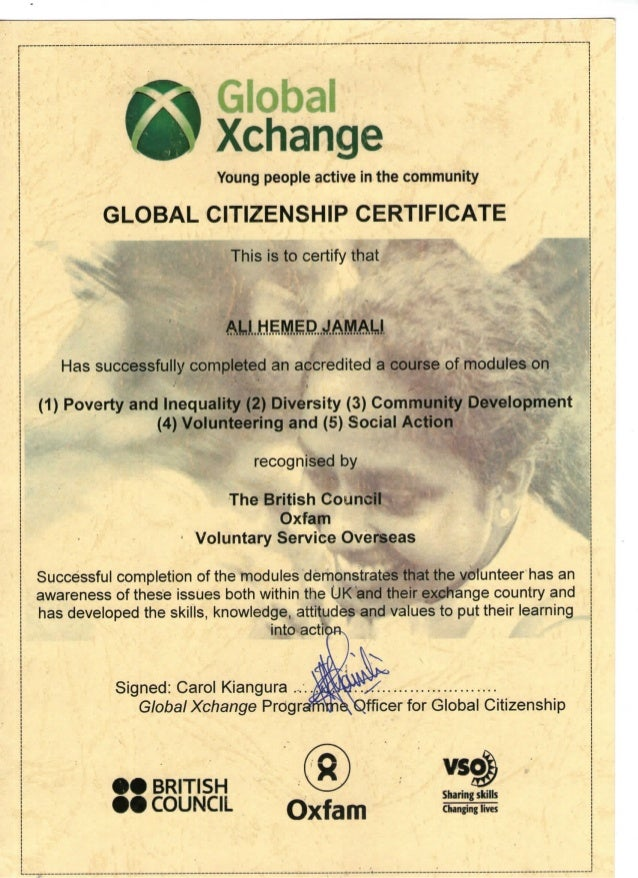 Global Citizenship Certificate