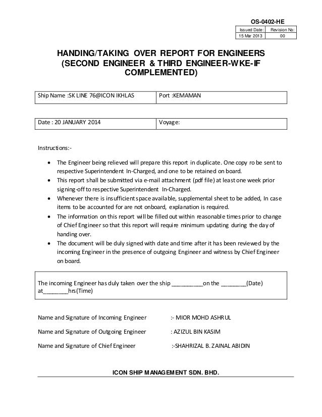 Form os 0402 he handing taking over report for engineers for Handing over notes template