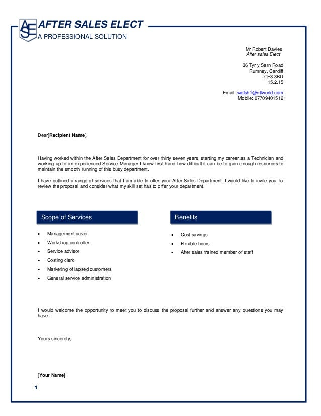 Proposal Aftersales  Tweaked Covering Letter  Bob