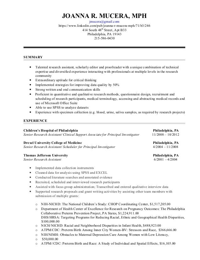 Research Assistant Functional Resume 6-13-2015. JOANNA R. MUCERA, MPH  jmucera@gmail.com https://www ...