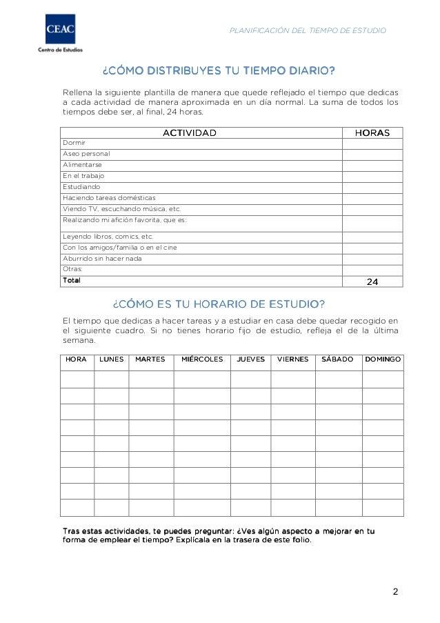Cuestionario y plantillas para organizarse