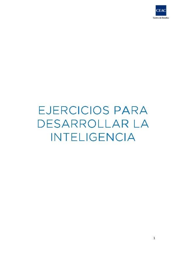 EJERCICIOS PARA DESARROLLAR LA INTELIGENCIA  1