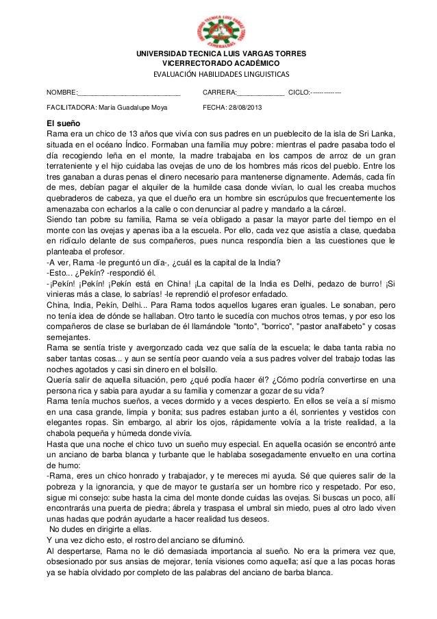 UNIVERSIDAD TECNICA LUIS VARGAS TORRES VICERRECTORADO ACADÉMICO EVALUACIÓN HABILIDADES LINGUISTICAS NOMBRE:_______________...