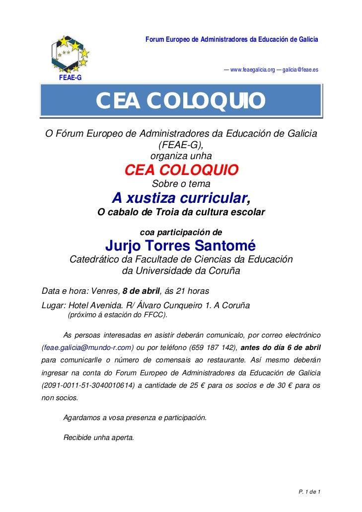 Forum Europeo de Administradores da Educación de Galicia                                                        — www.feae...