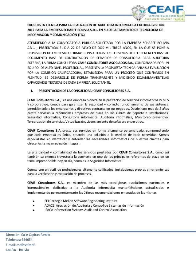 Dirección: Calle Capitan RaveloTelefonos: 654654E-mail: asdfasdfasdfLaa Paz - BoliviaPROPUESTA TECNICA PARA LA REALIZACION...