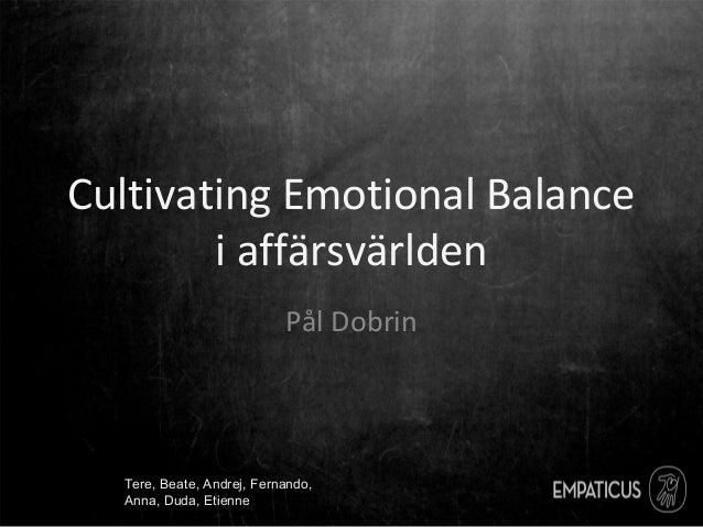 Cultivating Emotional Balance i affärsvärlden Pål Dobrin Tere, Beate, Andrej, Fernando, Anna, Duda, Etienne