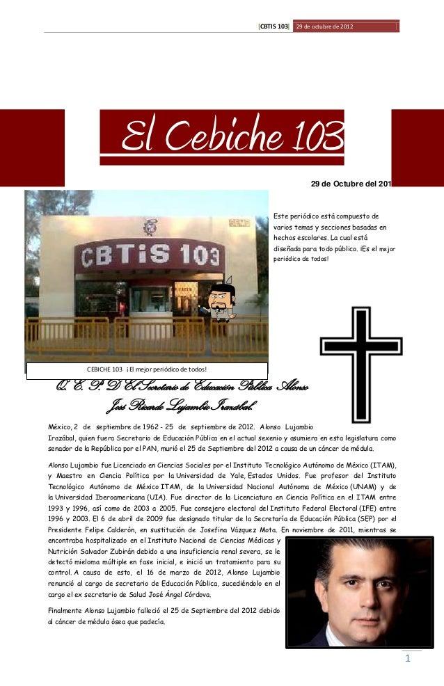 [CBTIS 103] 29 de octubre de 2012                       El Cebiche 103                                                    ...