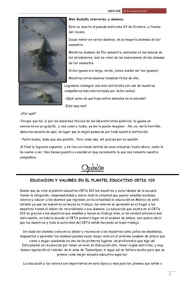 [CBTIS 103] 29 de octubre de 2012                                 Mini Godzilla aterroriza a alumnos.                     ...