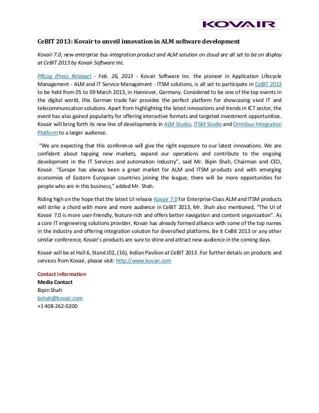 CeBIT 2013: Kovair to unveil innovation in ALM software developmentKovair 7.0, new enterprise bus-integration product and ...