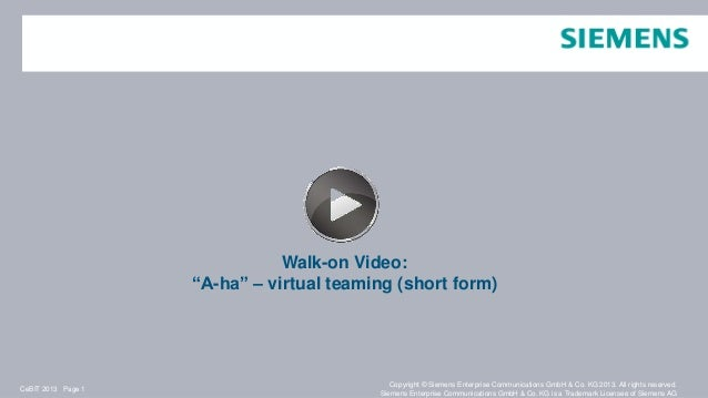 "Walk-on Video:                    ""A-ha"" – virtual teaming (short form)                                             Copyri..."