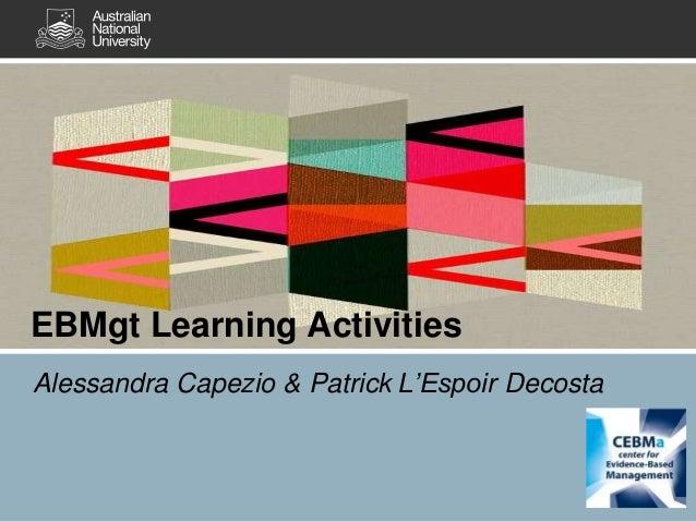 Alessandra Capezio & Patrick L'Espoir Decosta Title EBMgt Learning Activities