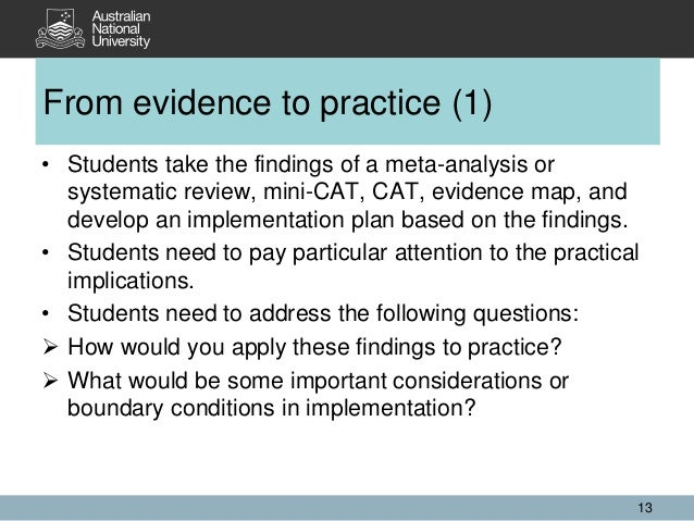 • Students take the findings of a meta-analysis or systematic review, mini-CAT, CAT, evidence map, and develop an implemen...