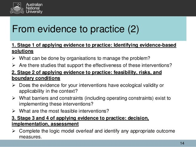 1. Stage 1 of applying evidence to practice: Identifying evidence-based solutions  What can be done by organisations to m...
