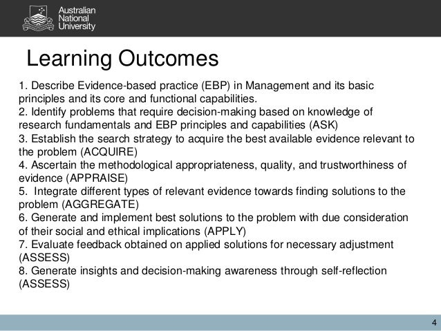 Learning Outcomes 1. Describe Evidence-based practice (EBP) in Management and its basic principles and its core and functi...