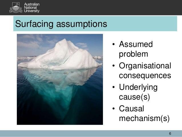 Surfacing assumptions 6 • Assumed problem • Organisational consequences • Underlying cause(s) • Causal mechanism(s)