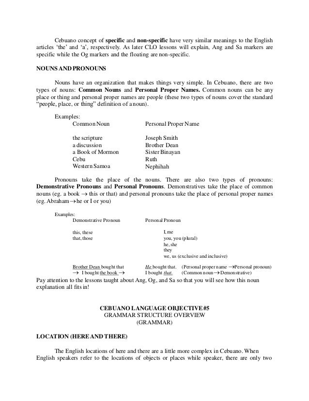 Cebuano Language Objectives