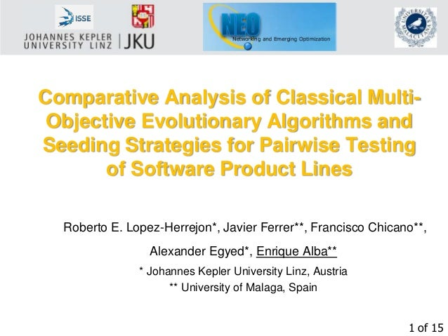 1 of 15 Comparative Analysis of Classical Multi- Objective Evolutionary Algorithms and Seeding Strategies for Pairwise Tes...