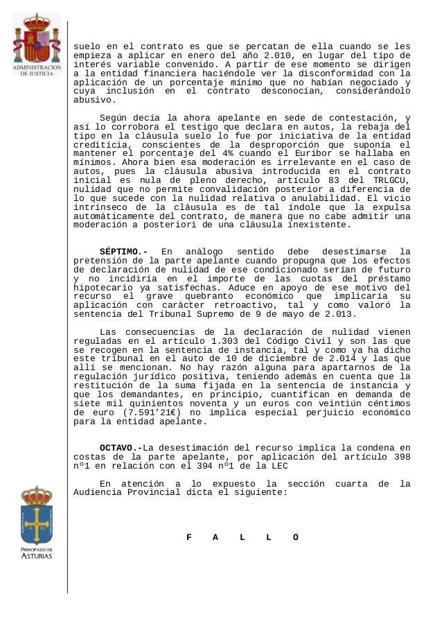S 141217 cajaruralasturias ap4 oviedo sueloyretro for Nulidad acuerdo clausula suelo