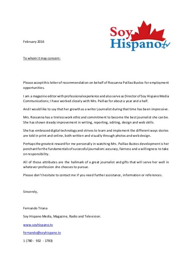 Recommendation letter soy hispano magazine february 2016 to whom it may concern please acceptthisletterof recommendation on behalf of rossanna paillao spiritdancerdesigns Images