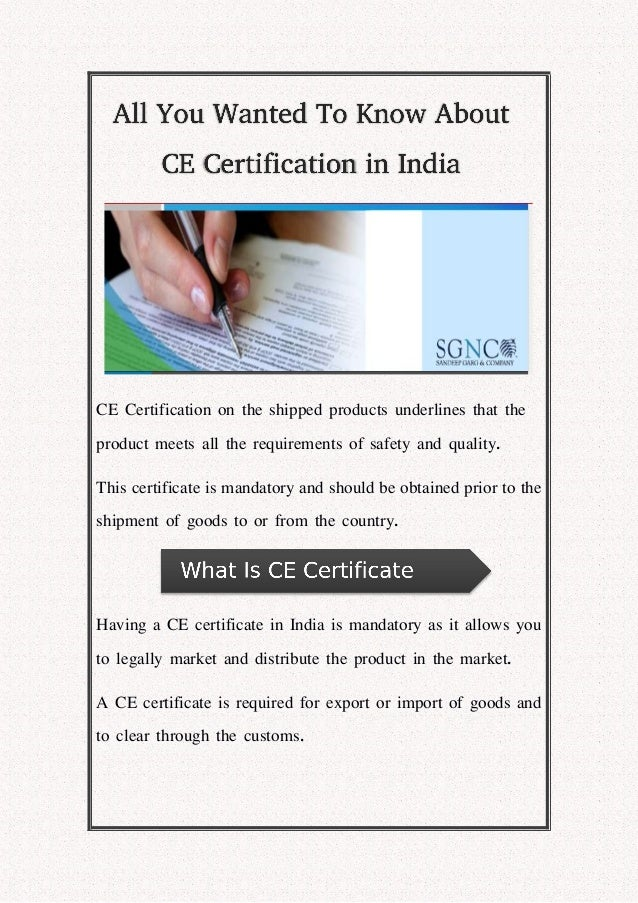 All You Wanted To Know About CE Certification in India