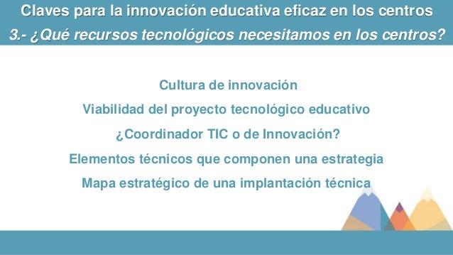 Cultura de innovación Viabilidad del proyecto tecnológico educativo ¿Coordinador TIC o de Innovación? Elementos técnicos q...