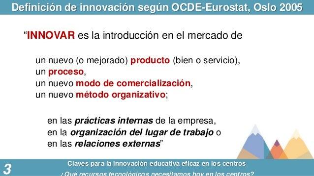 """Definición de innovación según OCDE-Eurostat, Oslo 2005 Claves para la innovación educativa eficaz en los centros 3 """"INNOV..."""