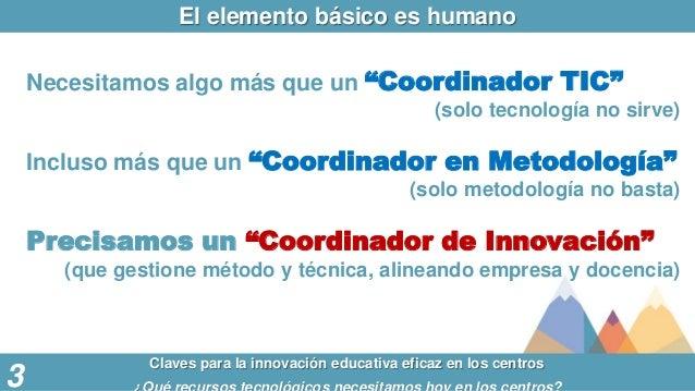 """El elemento básico es humano Claves para la innovación educativa eficaz en los centros 3 Necesitamos algo más que un """"Coor..."""
