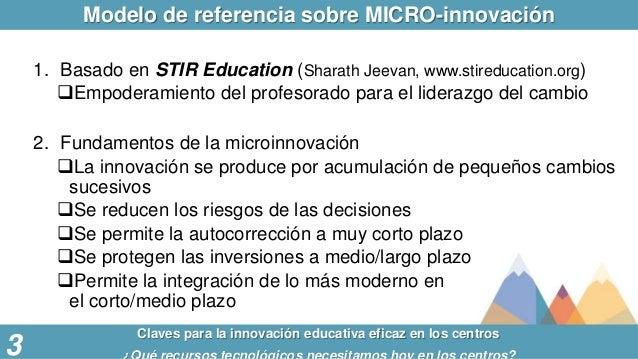 Modelo de referencia sobre MICRO-innovación Claves para la innovación educativa eficaz en los centros 3 1. Basado en STIR ...