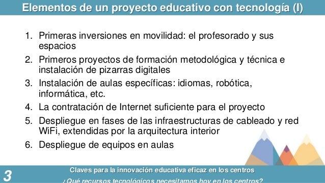 Elementos de un proyecto educativo con tecnología (I) Claves para la innovación educativa eficaz en los centros 3 1. Prime...