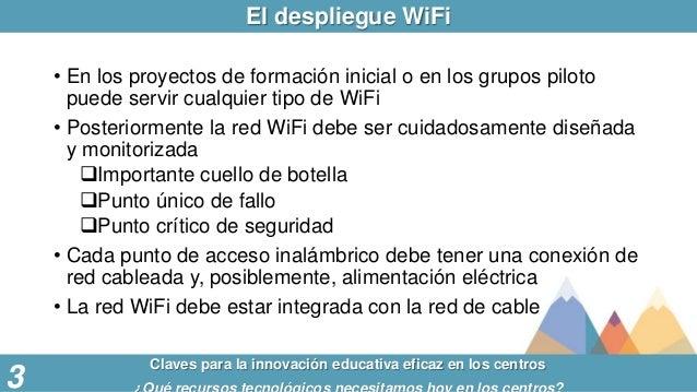 El despliegue WiFi Claves para la innovación educativa eficaz en los centros 3 • En los proyectos de formación inicial o e...