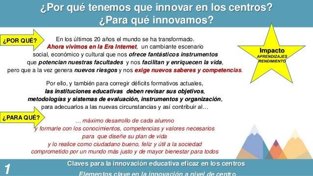 ¿Por qué tenemos que innovar en los centros? ¿Para qué innovamos? 1 Claves para la innovación educativa eficaz en los cent...