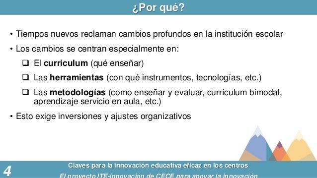 ¿Por qué? Claves para la innovación educativa eficaz en los centros 4 • Tiempos nuevos reclaman cambios profundos en la in...