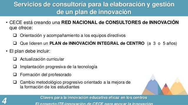 Servicios de consultoría para la elaboración y gestión de un plan de innovación Claves para la innovación educativa eficaz...