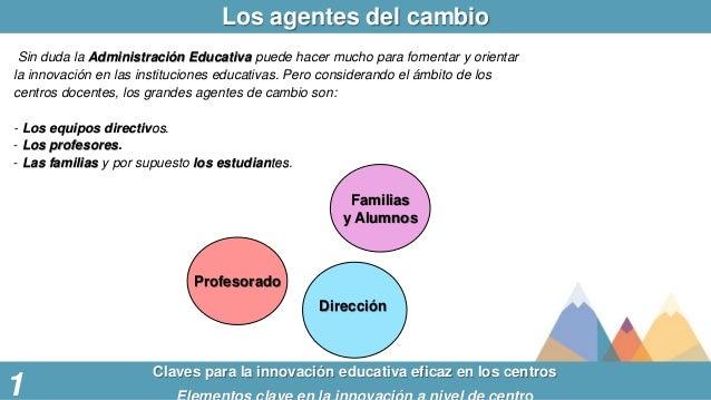 1 Familias y Alumnos Profesorado Dirección Claves para la innovación educativa eficaz en los centros Los agentes del cambi...