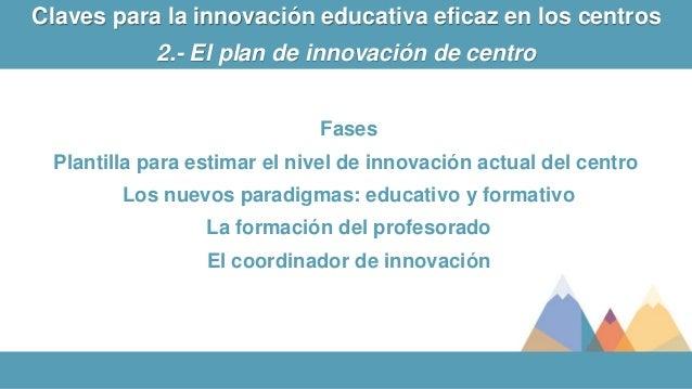 Fases Plantilla para estimar el nivel de innovación actual del centro Los nuevos paradigmas: educativo y formativo La form...