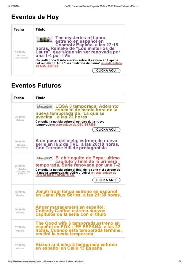 5/10/2014 CeC | Estrenos Series España 2014 - 2015 Enero/Febrero/Marzo  The mysteries of Laura  estreno en español en  Cos...