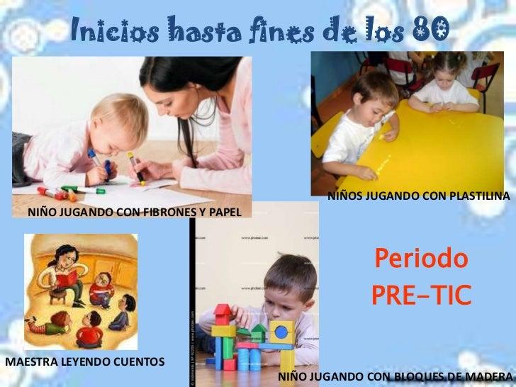 Inicios hasta fines de los 80<br />NIÑOS JUGANDO CON PLASTILINA<br />NIÑO JUGANDO CON FIBRONES Y PAPEL<br />Periodo <br />...