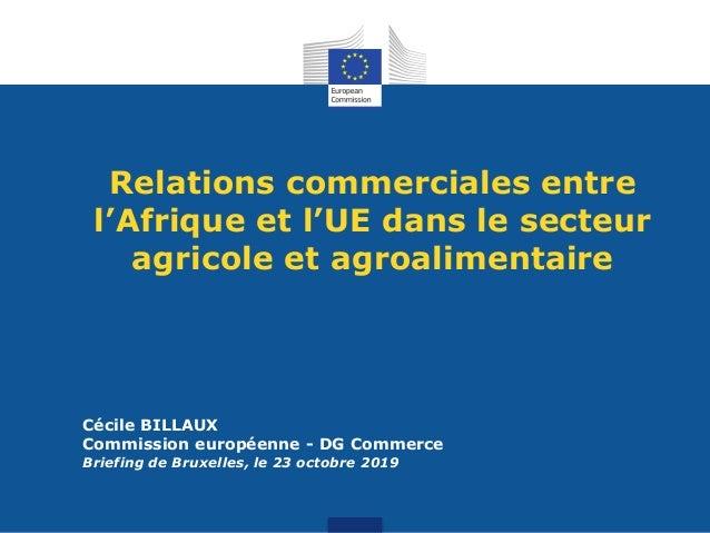 Relations commerciales entre l'Afrique et l'UE dans le secteur agricole et agroalimentaire Cécile BILLAUX Commission europ...