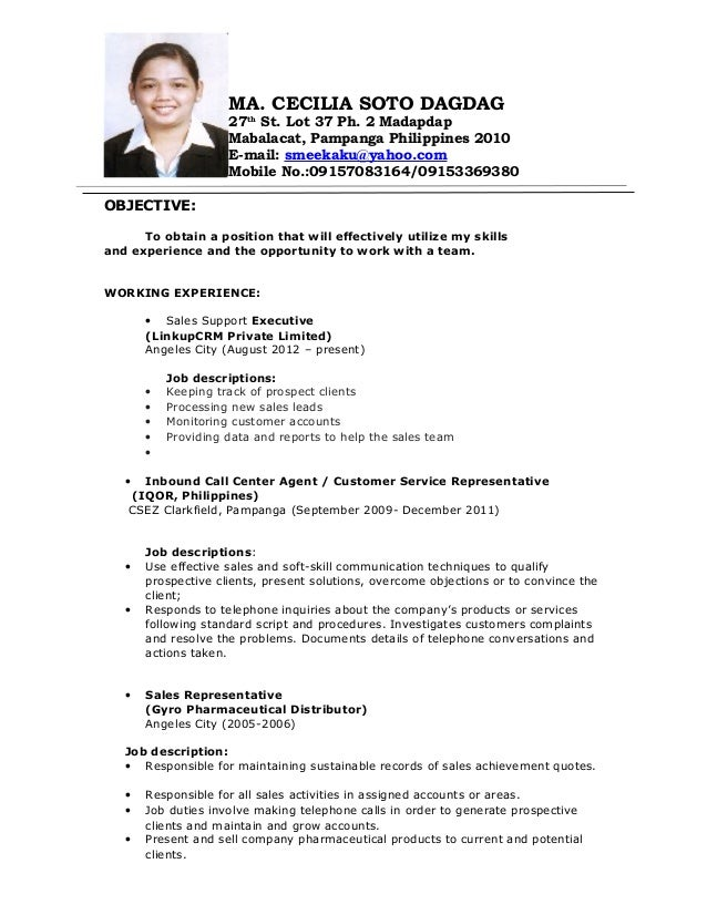 Sample Resume Format For Working Abroad Resume Cover Brefash  Sample Resume With Work Experience
