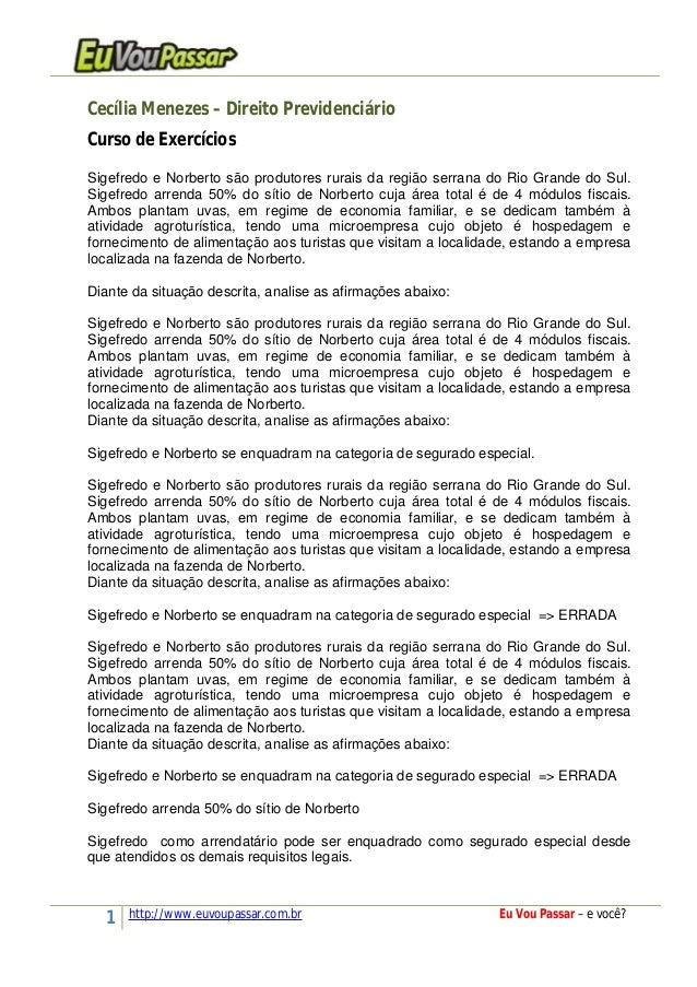 1 http://www.euvoupassar.com.br Eu Vou Passar – e você? Cecília Menezes – Direito Previdenciário Curso de Exercícios Sigef...