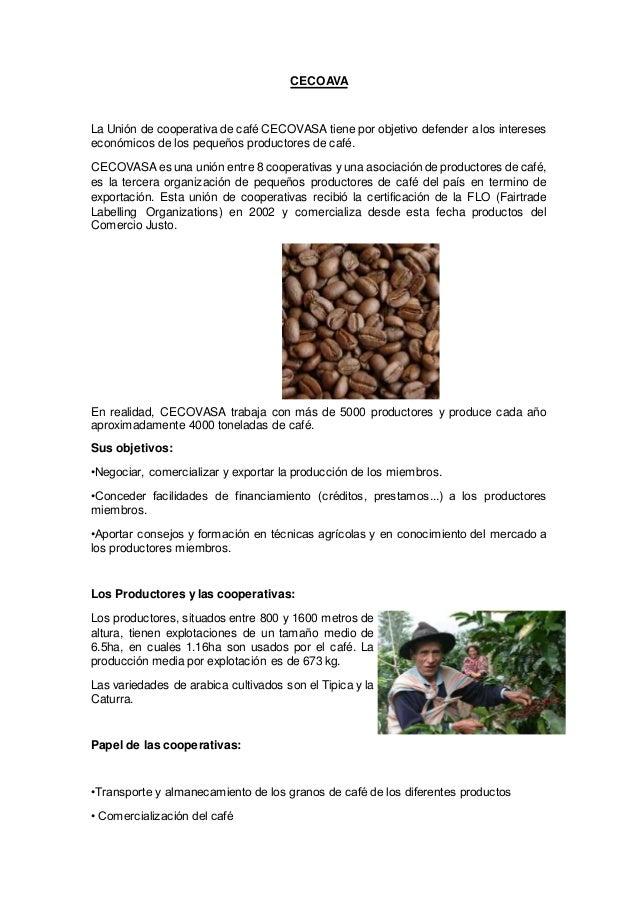 CECOAVA La Unión de cooperativa de café CECOVASA tiene por objetivo defender a los intereses económicos de los pequeños pr...